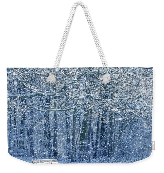 Snowy Landscape With A Bench Weekender Tote Bag