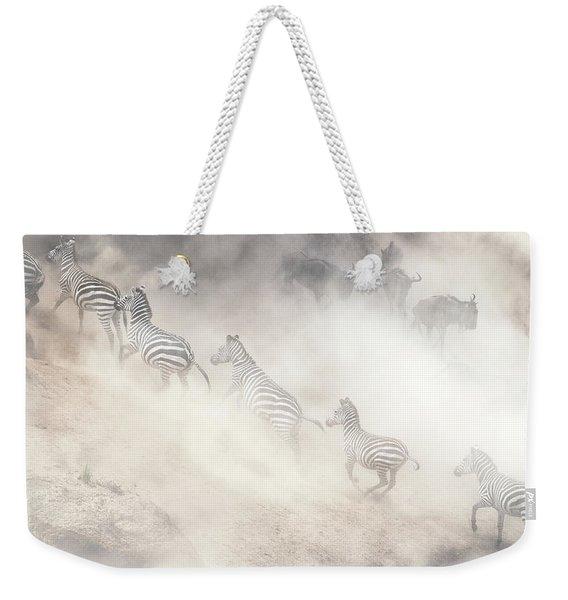 Dramatic Dusty Great Migration In Kenya Weekender Tote Bag
