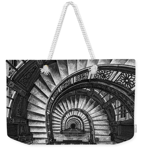 Weekender Tote Bag featuring the drawing Frank Lloyd Wright - The Rookery by Clint Hansen