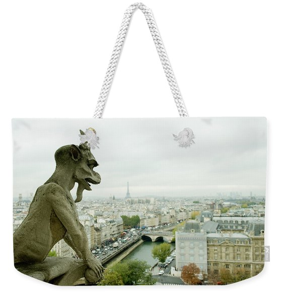 Gargoyle Statue At A Cathedral, Notre Weekender Tote Bag