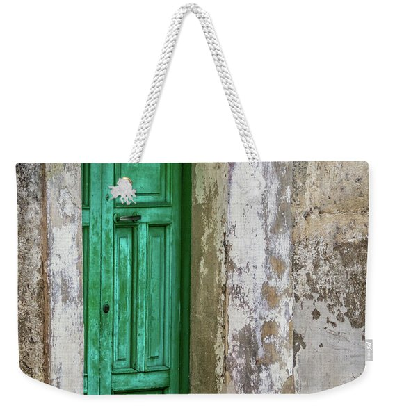 Weekender Tote Bag featuring the photograph Green Door 2 by Robin Zygelman