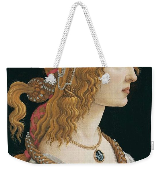 Portrait Of A Young Woman, Portrait Of Simonetta Vespucci As Nymph Weekender Tote Bag