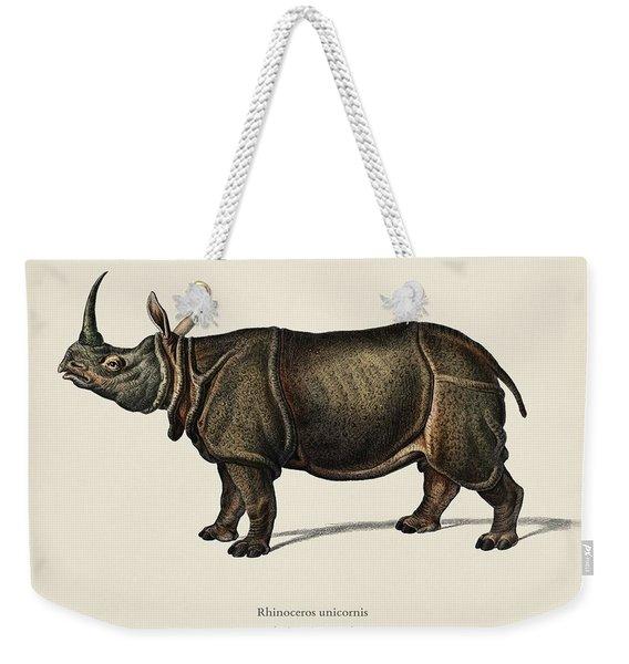 Indian Rhinoceros  Rhinoceros Unicornis  Illustrated By Charles Dessalines D  Orbigny  1806 1876  Weekender Tote Bag