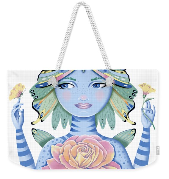 Insect Girl, Winga, With Rose Weekender Tote Bag