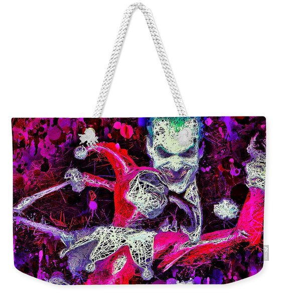 Weekender Tote Bag featuring the mixed media Joker And Harley Quinn by Al Matra