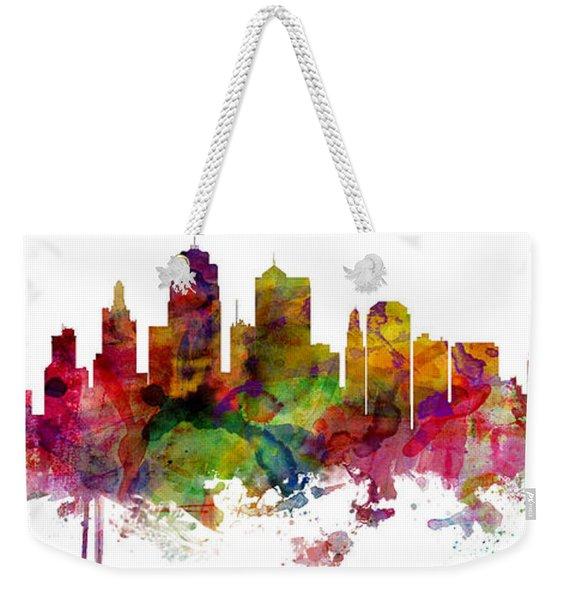 Kansas City Missouri Skyline Panoramic Weekender Tote Bag