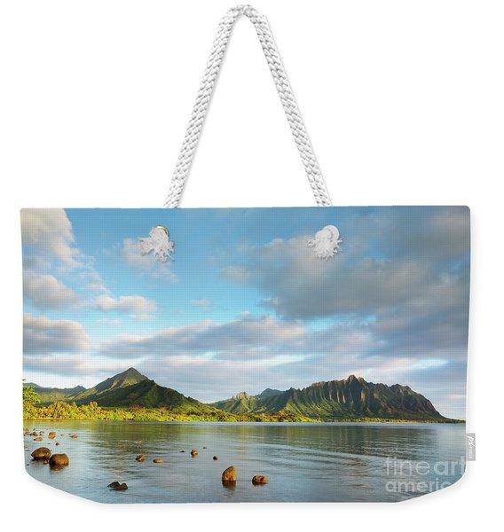 Weekender Tote Bag featuring the photograph Kualoa Ridge And Kaneohe Bay by Charmian Vistaunet