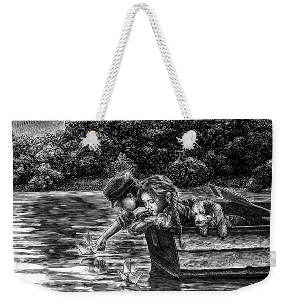 Weekender Tote Bag featuring the drawing Launching Dreams by Clint Hansen