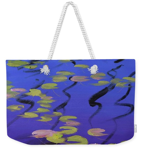Lilies On Blue Water Weekender Tote Bag