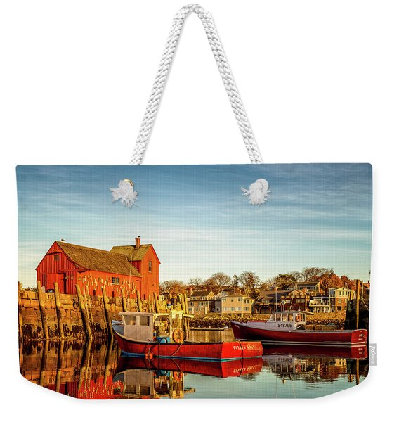 Weekender Tote Bag featuring the photograph Low Tide And Lobster Boats At Motif #1 by Jeff Sinon