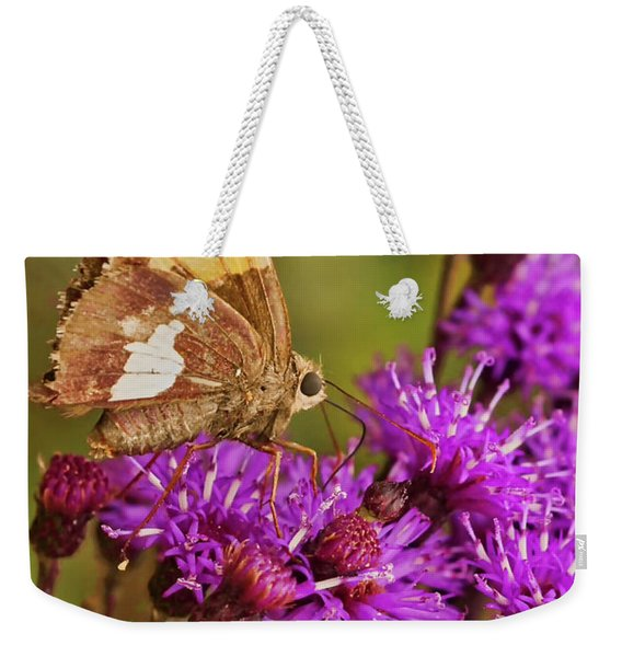 Moth On Purple Flowers Weekender Tote Bag