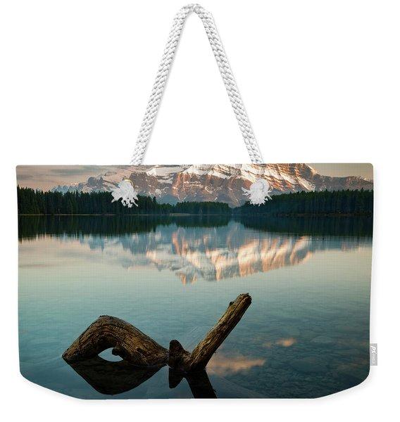 Mount Rundle And Two Jack Lake Weekender Tote Bag