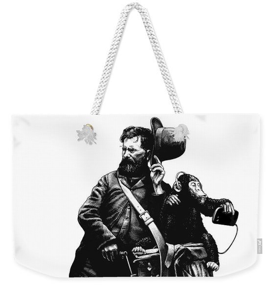 Weekender Tote Bag featuring the drawing Organ Grinder by Clint Hansen
