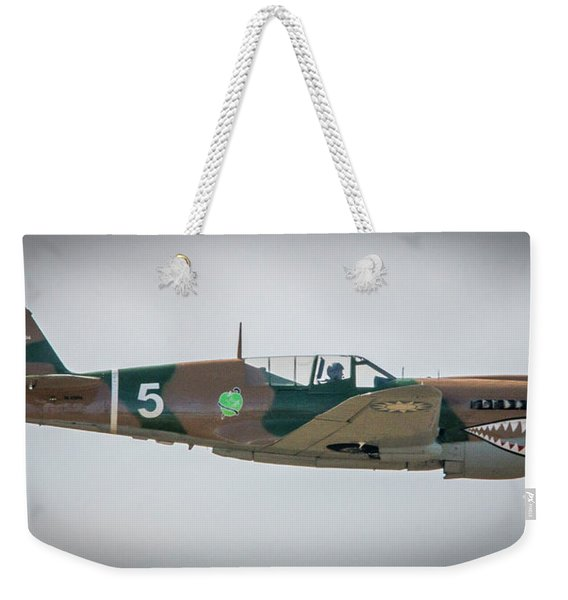 Weekender Tote Bag featuring the photograph P-40 Warhawk by Tom Claud