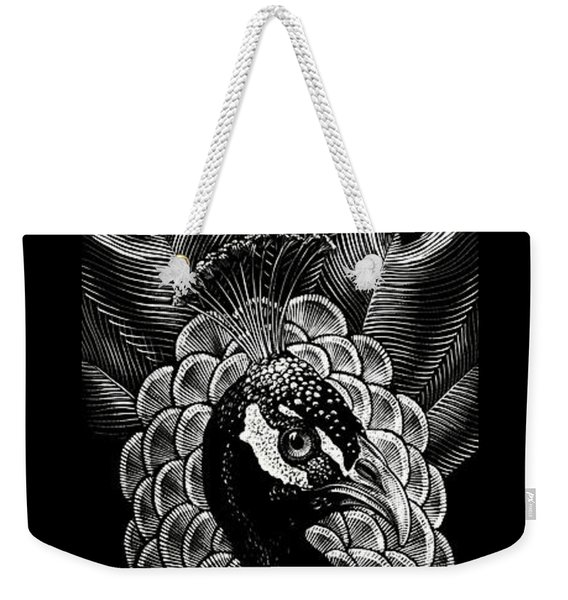 Weekender Tote Bag featuring the drawing Peacock by Clint Hansen