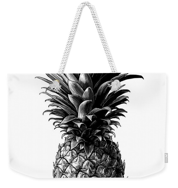 Weekender Tote Bag featuring the drawing Pineapple by Clint Hansen