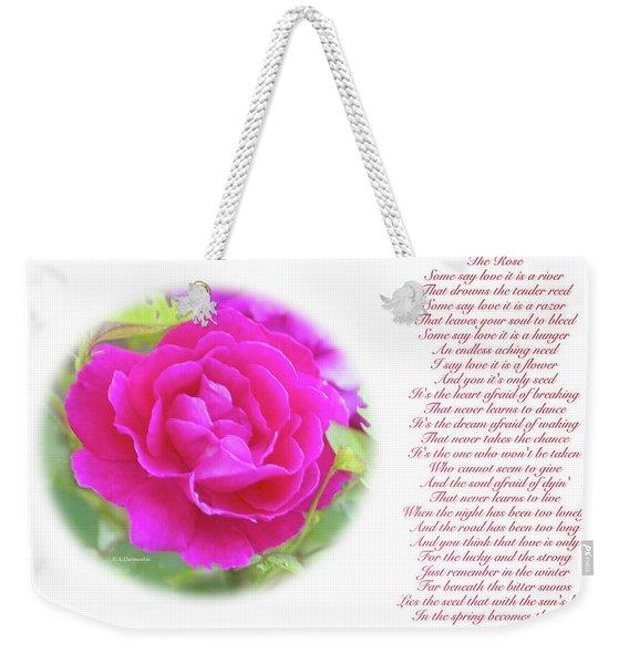 Pink Rose And Song Lyrics Weekender Tote Bag