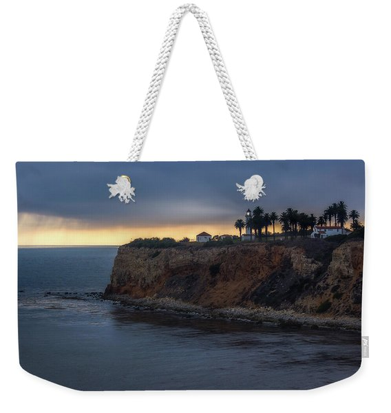 Weekender Tote Bag featuring the photograph Point Vicente Lighthouse At Sunset by Andy Konieczny