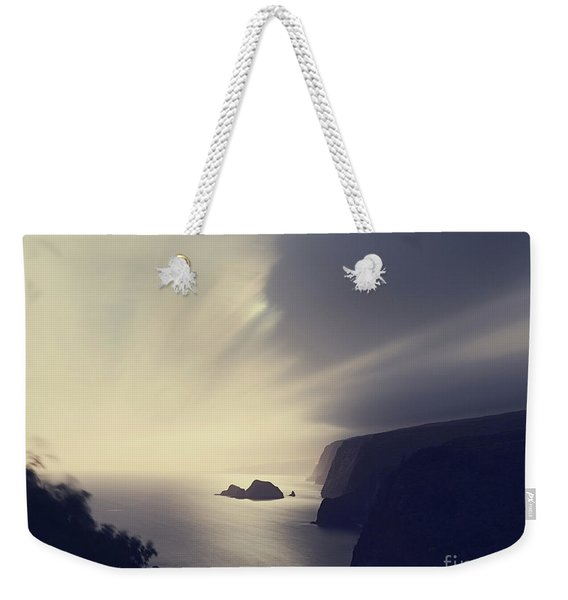 Weekender Tote Bag featuring the photograph Pololu Valley Moonrise - Hipster Photo Square by Charmian Vistaunet