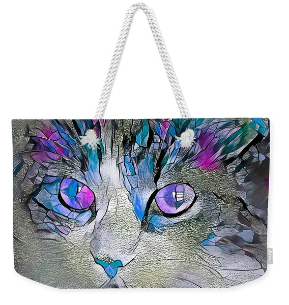 Purple Stained Glass Kitty Weekender Tote Bag