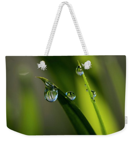 Rain Drops On Grass Weekender Tote Bag