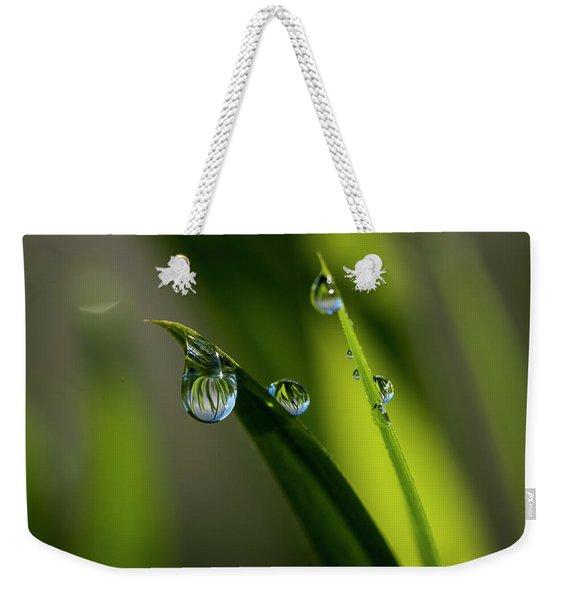 Rain Drops On Grass Weekender Tote Bag