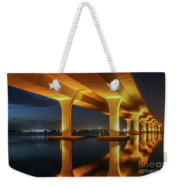 Weekender Tote Bag featuring the photograph Roosevelt Reflection by Tom Claud