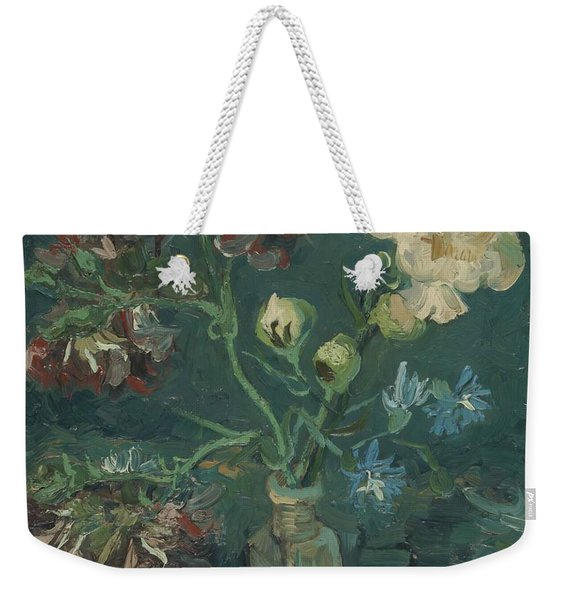 Small Bottle With Peonies And Blue Delphiniums Weekender Tote Bag