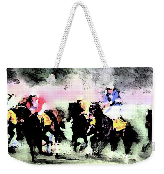 Weekender Tote Bag featuring the photograph Steeple Chase Colors by Wayne King