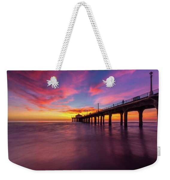 Weekender Tote Bag featuring the photograph Stunning Sunset At Manhattan Beach Pier by Andy Konieczny