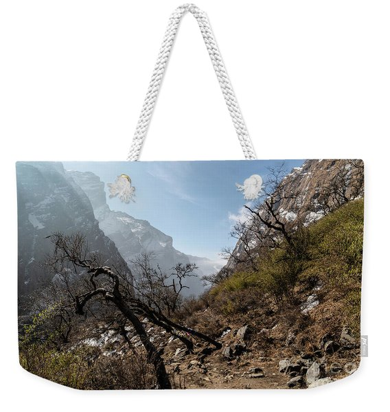 Sunrise Over Valley Leading To The Annapurna Base Camp Trek In N Weekender Tote Bag