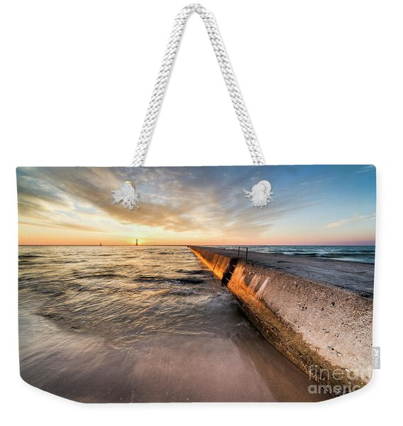 Sunset From The Beach In Frankfort Weekender Tote Bag