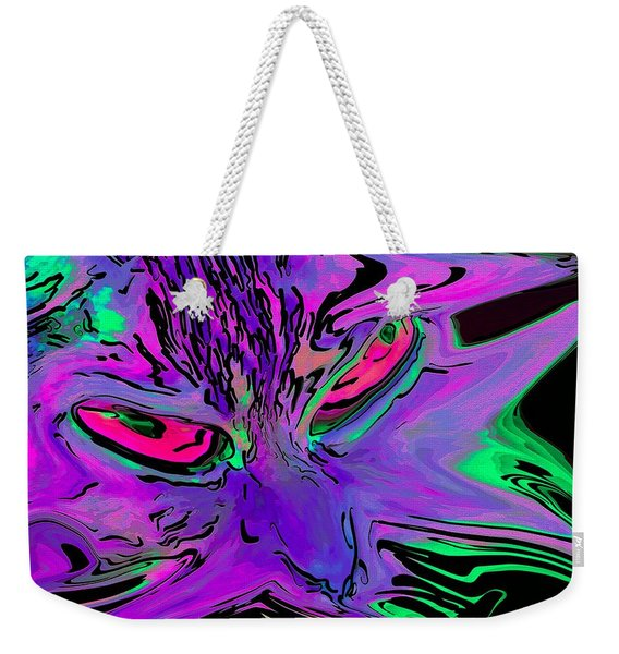 Weekender Tote Bag featuring the digital art Super Duper Crazy Cat Purple by Don Northup