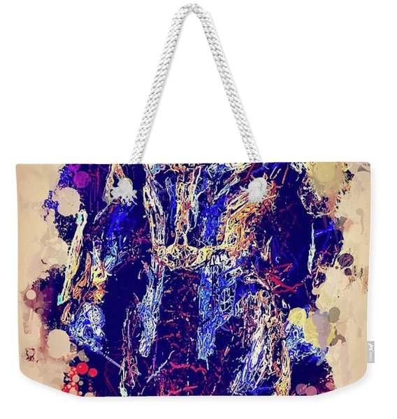 Weekender Tote Bag featuring the mixed media Thanos Watercolor by Al Matra