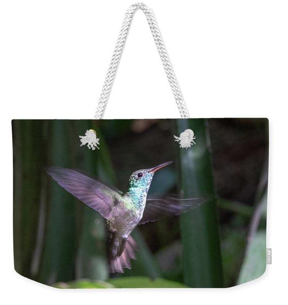 Versicolored Emerald Hummingbird Hovers Weekender Tote Bag