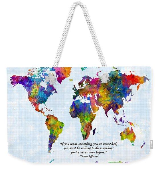 Watercolor World Map Custom Text Added Weekender Tote Bag