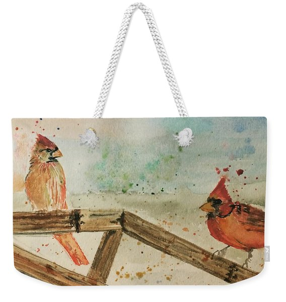 Winter Cardinals Weekender Tote Bag