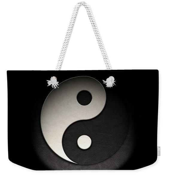 Yin Yang Symbol Leather Texture Weekender Tote Bag