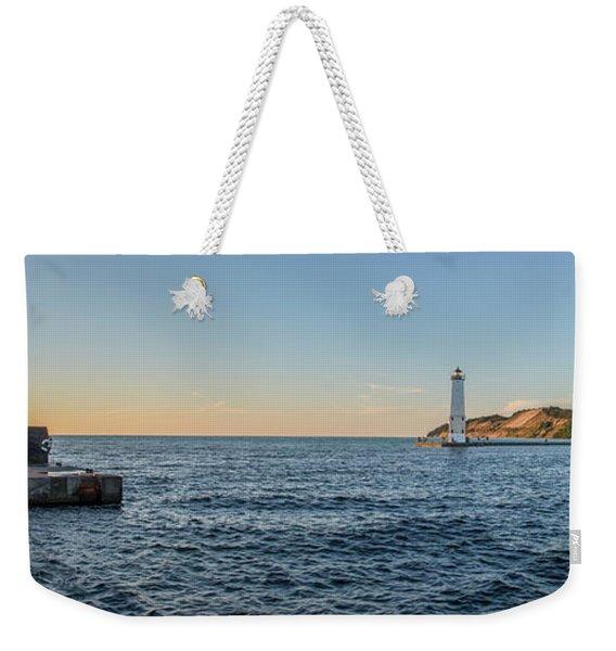 Frankfort North Breakwater Lighthouse Weekender Tote Bag
