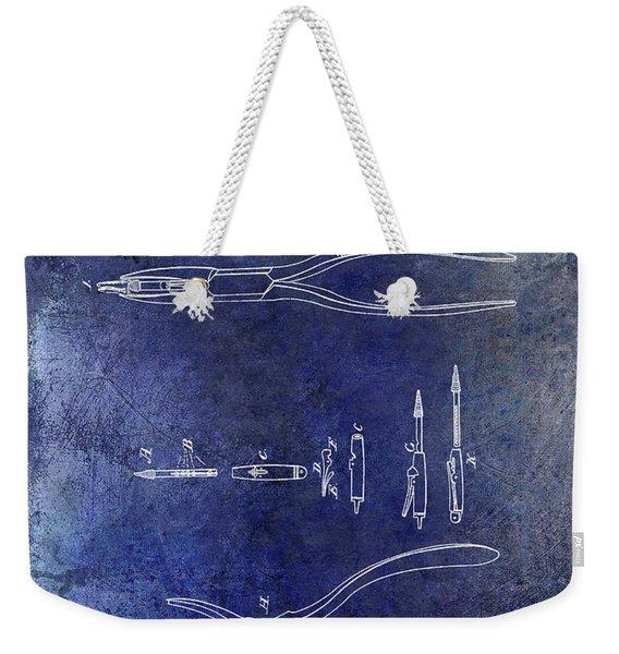 1848 Dental Forceps Patent Blue Weekender Tote Bag