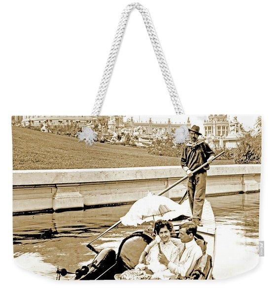 1904 Worlds Fair, Sighteeing Boat, Oarsman And Couple Weekender Tote Bag