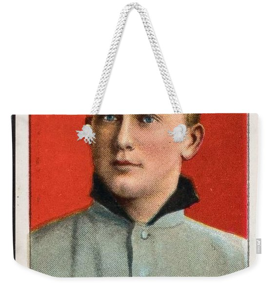1909 11 T206 Sweet Caporal Ty Cobb Portrait Red Background Weekender Tote Bag
