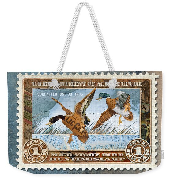 Weekender Tote Bag featuring the mixed media 1934 Hunting Stamp Collage by Clint Hansen