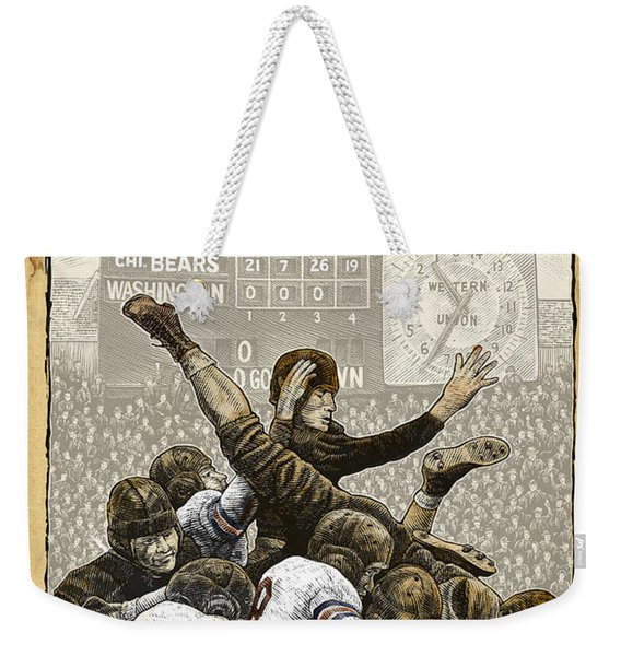 Weekender Tote Bag featuring the drawing 1940 Chicago Bears by Clint Hansen