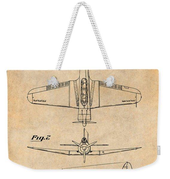1940 Douglas Sbd Dauntless Patent Print Antique Paper Weekender Tote Bag