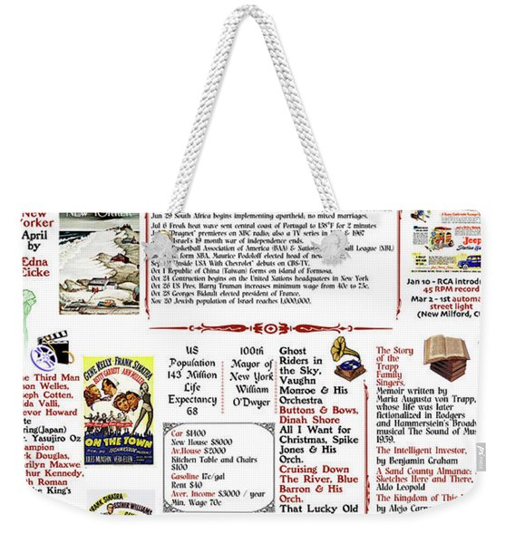 1949 Back In Time Poster, Birthday Poster Present Weekender Tote Bag
