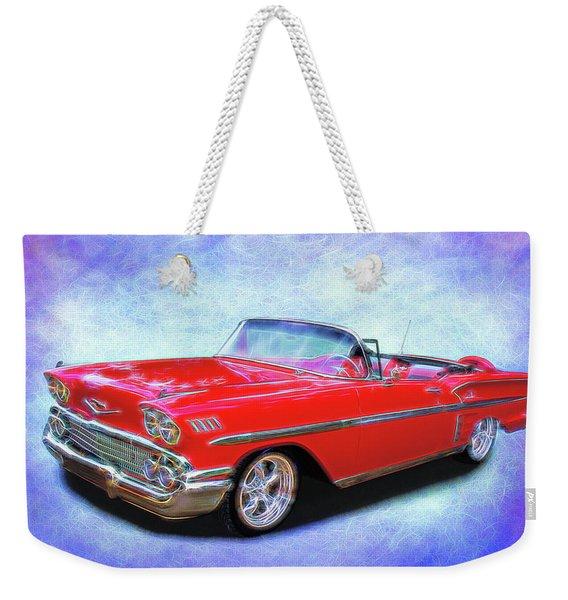 1958 Red Chevy Convertable Weekender Tote Bag