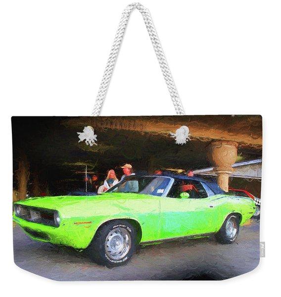 1970 Green Cuda Weekender Tote Bag