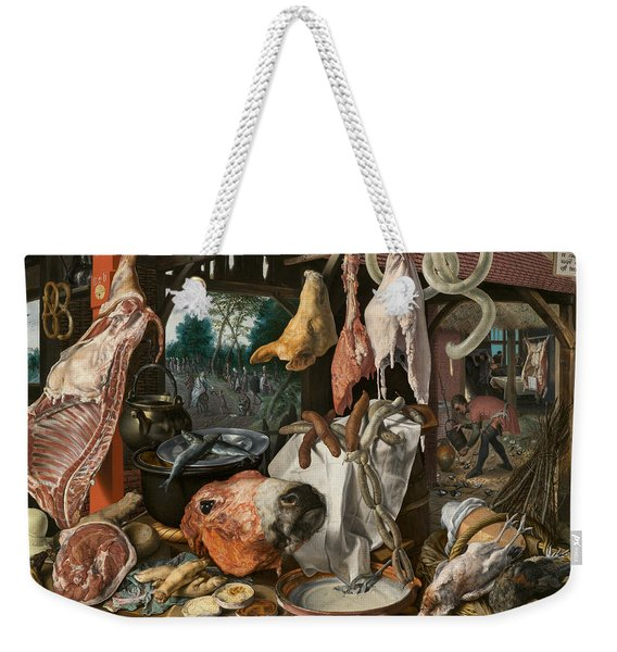 A Meat Stall With The Holy Family Giving Alms Weekender Tote Bag
