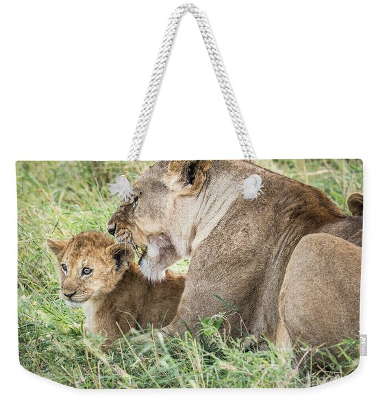 Weekender Tote Bag featuring the photograph A Mothers Love by Robin Zygelman